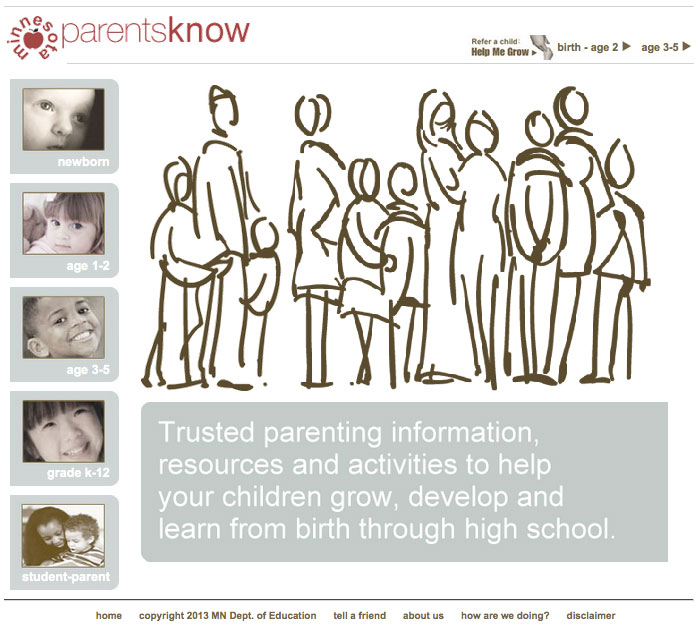 MN-Parents-Know home page. Families drawn in in black and white.