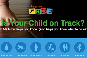 "Help-Me-Grow website thumbnail. Blocks and words that say ""Is your child on track?"""